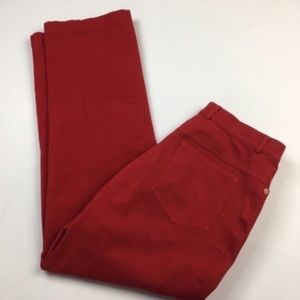 St. John Red High Rise Cropped Pants Sz 6